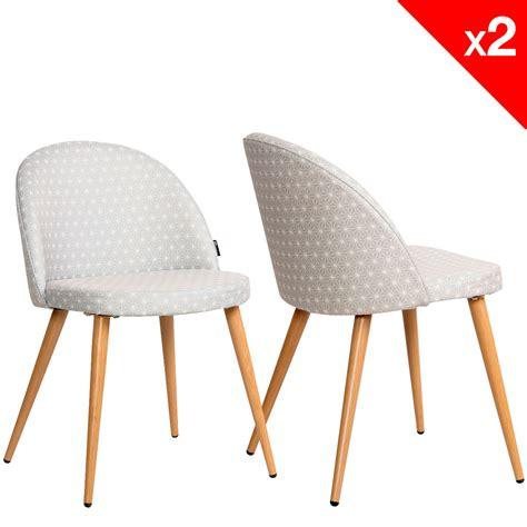 chaises retro chaise scandinave vintage tissu étoiles lot de 2 giza