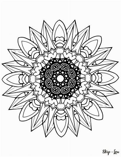 Mandala Coloring Mandalas Printable Sunflower Bunga Sheets