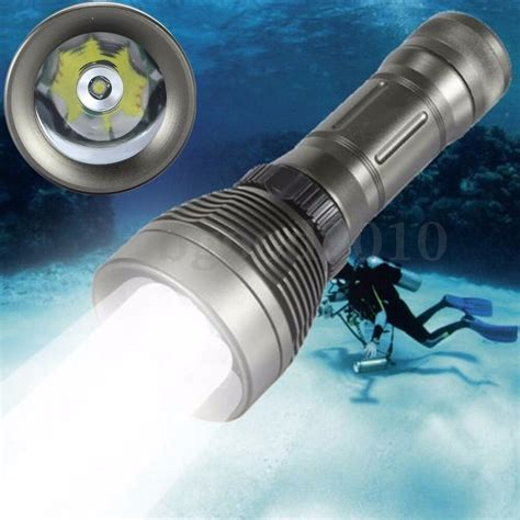 Dive Torch by Underwater 30m Waterproof 3000lm T6 Led Diving Flashlight