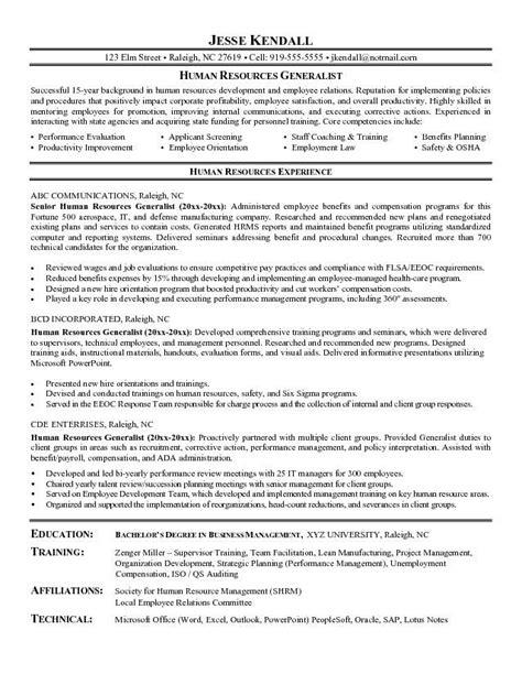 Human Resource Generalist Resume by Human Resource Generalist Resume Search