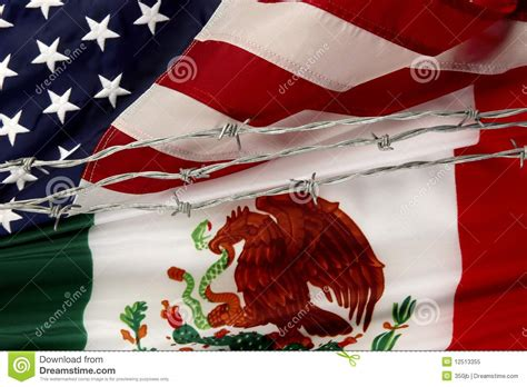 US And Mexican Flags Separated By Barbed Wire Stock Image ...