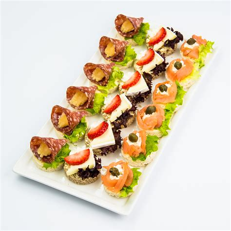 canapé cuisine canapes and finger food variety platter with smoked