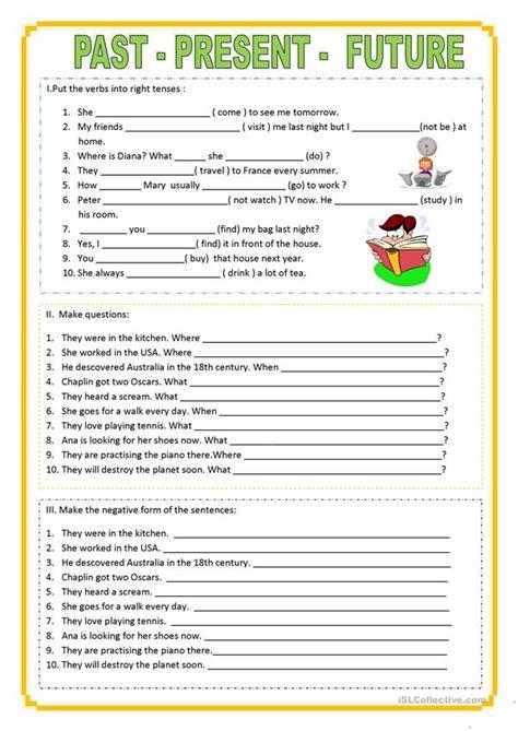pastpresentfuture worksheet  esl printable