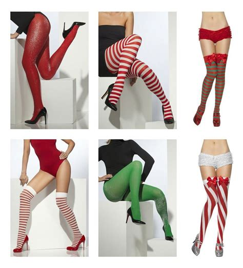 ladies christmas tights stockings fancy dress costume