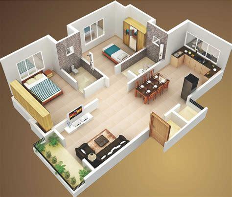 Attractive Simple House Design Plans 3d 2 Bedrooms Ideas