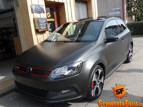 vw polo gti  diamond matte black wrap autoevolution