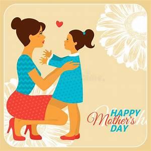 Madre E Hija Con Día De Madres Feliz Ilustración del ...