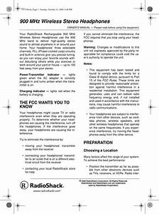 Radio Shack 3301186t 900 Mhz Stereo Transmitter User