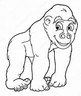 Gorilla Coloring Pages Cartoon Silverback Printable Angry Drawing Template Colorings Depositphotos Getdrawings Sketch Templates sketch template