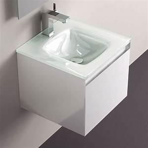 meuble salle de bain blanc 40 cm tiroir plan verre glass With meuble 40 cm