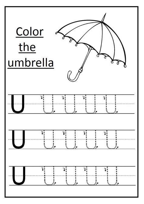 trace the uppercase letter u worksheet and color the