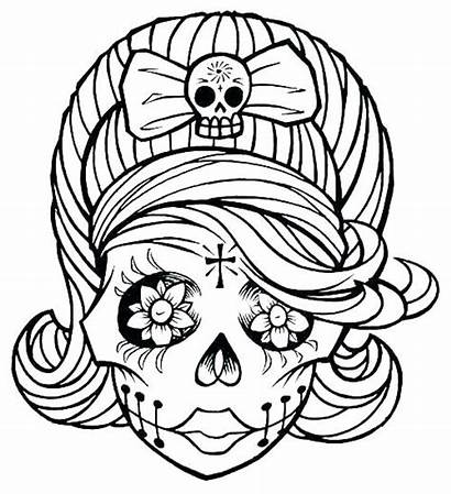 Skull Coloring Pages Female Printable