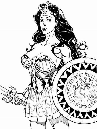 Wonder Coloring Woman Pages Shield Sword Printable