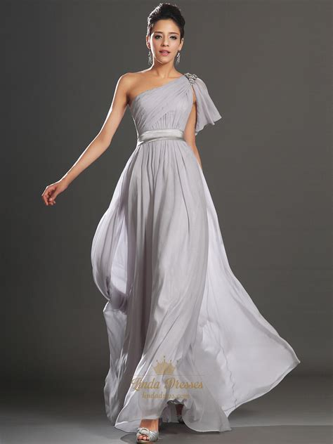light gray bridesmaid dress light grey one shoulder a line chiffon prom dress with