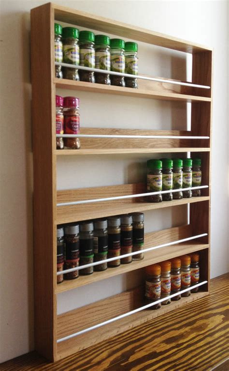 Wooden Spice Racks Uk solid oak spice rack 5 shelves kitchen worktop wall
