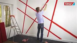 Wand Stellenweise Streichen : tesa diy tipp moderne wandgestaltung mit abklebetechnik youtube ~ Watch28wear.com Haus und Dekorationen