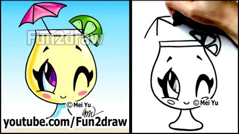 cartoon drawing lessons   draw  summer drink
