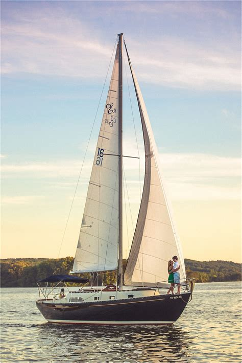 Sailboats Sailing by Sailboat Engagement Photos Knoxville Wedding Photographer