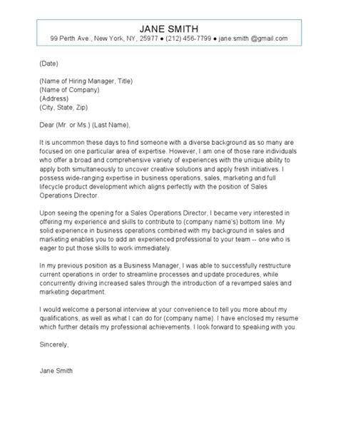 sales operations cover letter