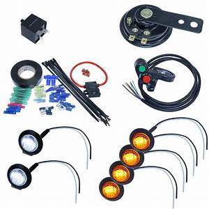 Led Turn Signal Kit With 4way  U0026 Horn For Atv Scooter Moped