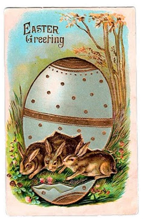 victorian graphic easter bunnies  egg