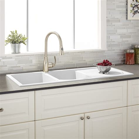 Big White Kitchen Sink by 46 Quot Tansi Bowl Drop In Sink With Drain Board