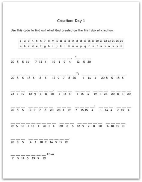 bible verses decoding and worksheets on