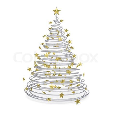 3d weihnachtsbaum aus metall spiralen und goldenen sternen