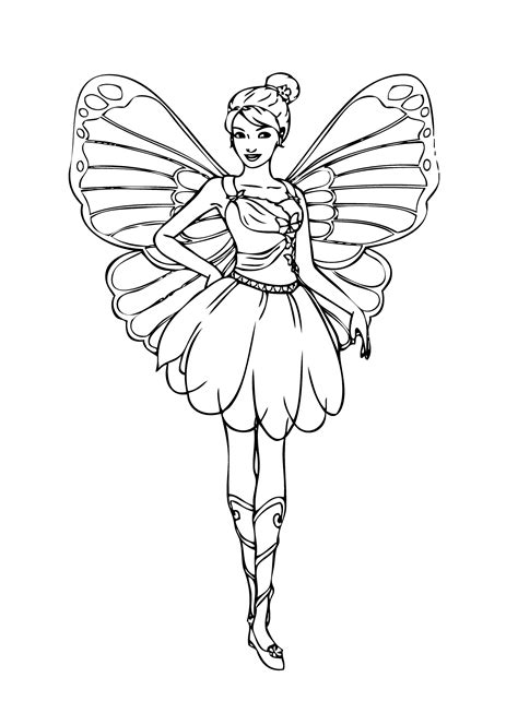 Barbie fairy coloring page for girls printable free