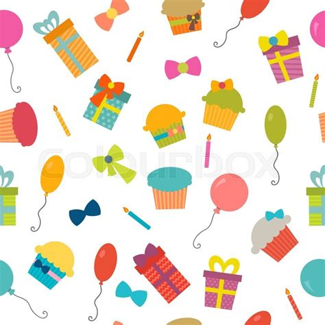 happy birthday seamless pattern vector background for