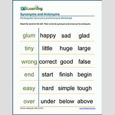 Matching Synonyms And Antonyms Worksheets  K5 Learning
