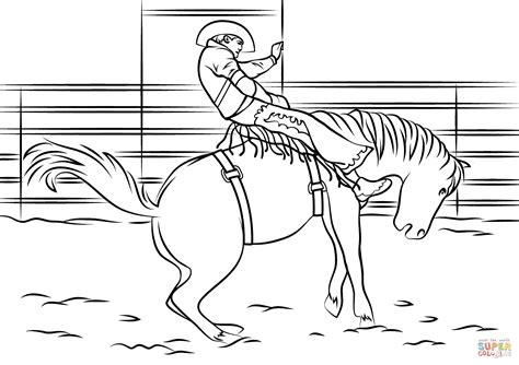 Saddle Bronc Rodeo Coloring Page Free Printable Coloring