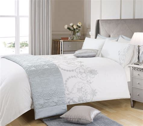 white and silver bedroom white grey silver colour stylish embroidered duvet cover 1249