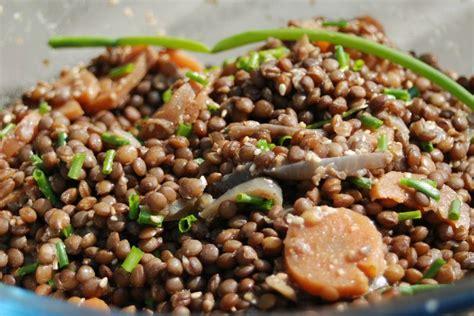 cuisiner les lentilles vertes salade de lentilles vertes aux carottes ciboulette et