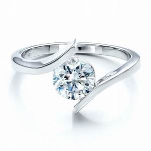 contemporary tension set solitaire engagement ring 1481 With tension wedding rings