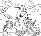 Coloring Fishing Boy Going Scouts Scout Cub Camping Sheets Tocolor Grandpa Printable Preschool Colouring Boys Place Pares Template Theme Fish sketch template