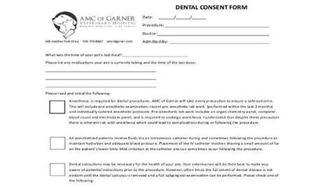 7 dental consent form sles free sle exle format