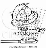 Clipart Wet Boy Running Through Sprinklers Royalty Outlined Vector Toonaday Illustrations sketch template