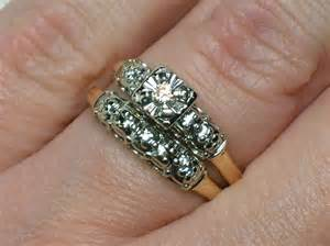 used wedding ring sets vintage wedding ring set 1950s two tone