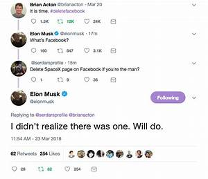 Elon Musk deletes Tesla, SpaceX Facebook pages - Business ...