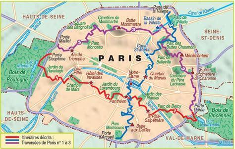 paris hiking map map  paris hiking france