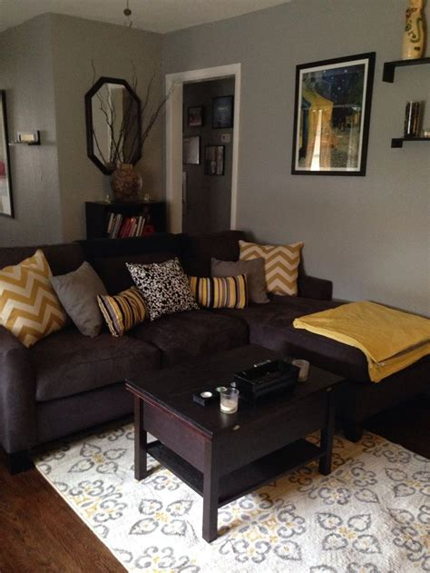 brown sofa living room decor grey brown yellow living rooms google search living