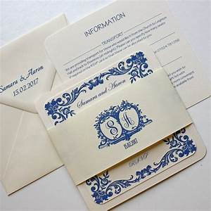 French blue traditional wedding invitation by claryce for Traditional french wedding invitations