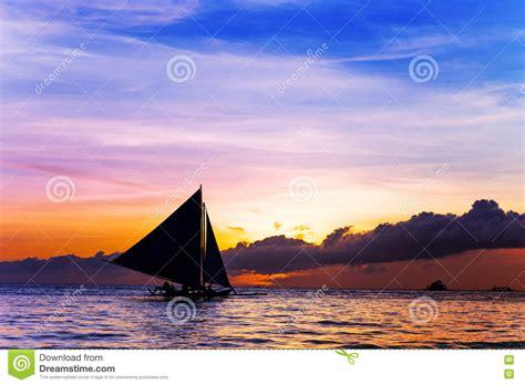 Sailboat At Sea by Amazing Sunset At Sea Sailboat Stock Photo Image 77333129