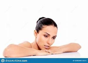 Bella Donna Nuda Isolata Su Fondo Bianco Immagine Stock