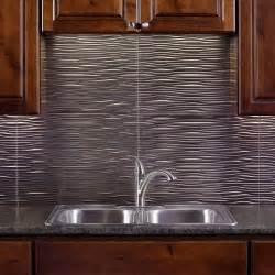 Kitchen Backsplash Sles Fasade 24 In X 18 In Waves Pvc Decorative Tile Backsplash In Brushed Nickel B65 29 The Home