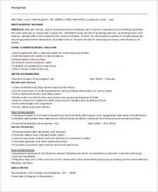resume sle for restaurant server sle restaurant server resume 6 exles in word pdf