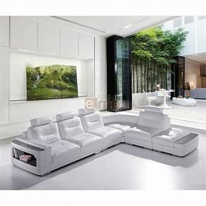 Soldes Canapé cuir Canapé d'angle blanc design contemporain PROMO