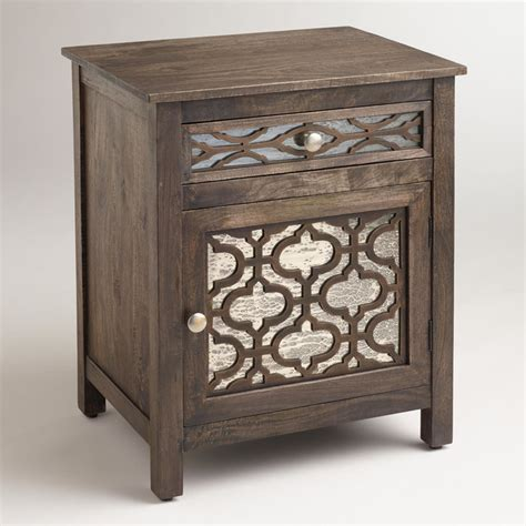 Antique Mirrored Nightstand by Kiran Antiqued Mirror Cabinet Contemporary Nightstands