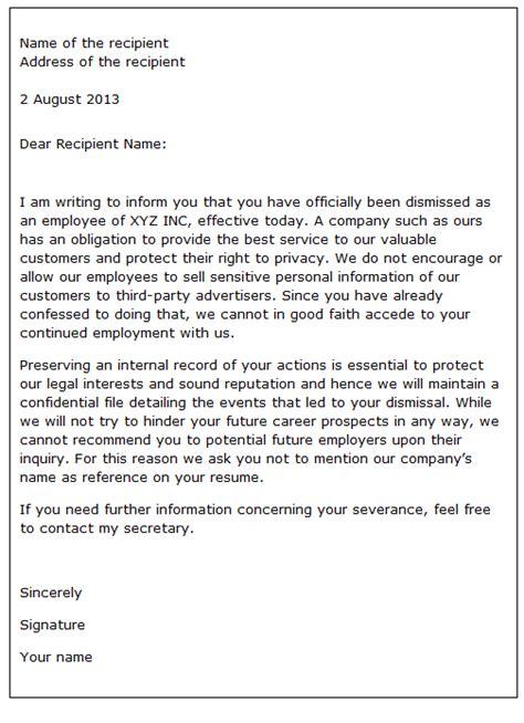 sample dismissal letter scrumps